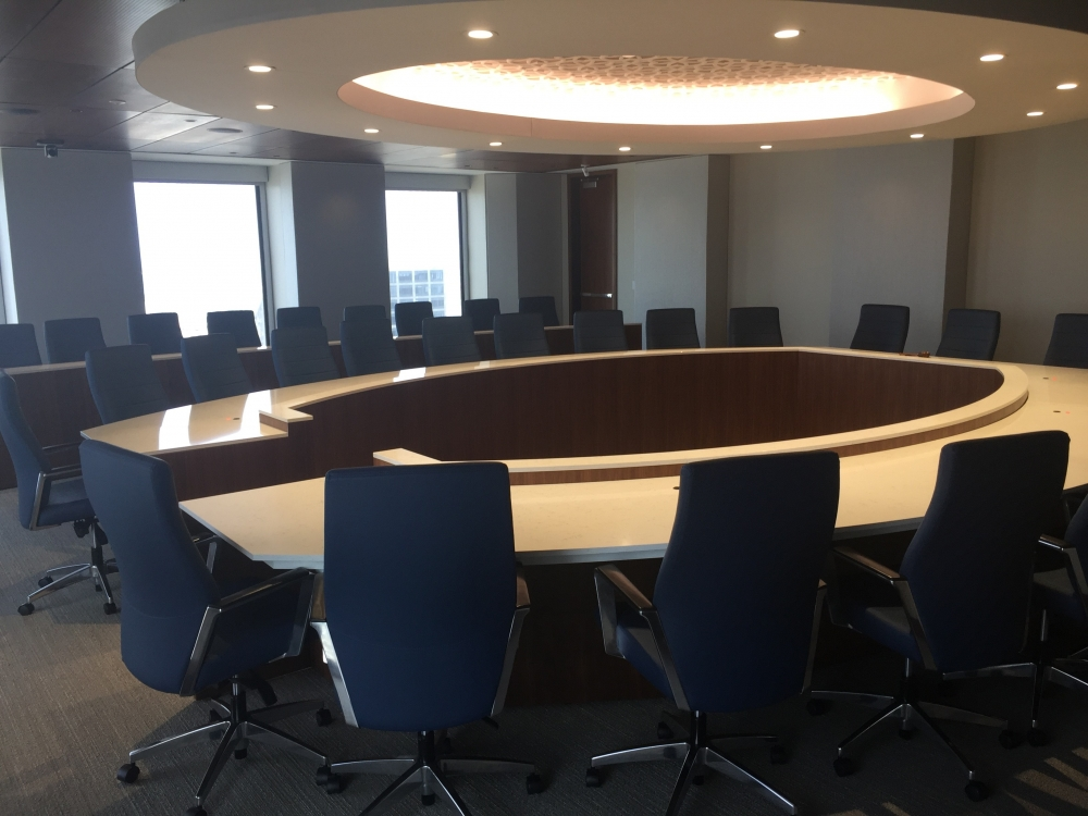 Preview of Custom |Conference Table | Horseshoe Shaped | Haida Quartz Top