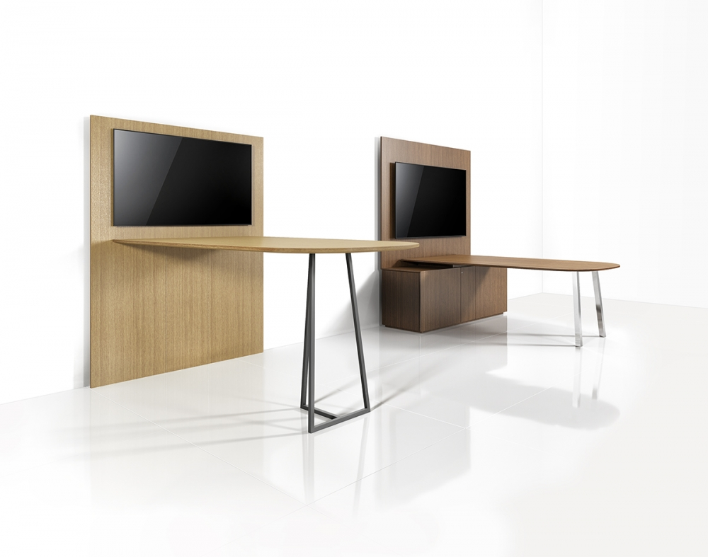 Preview of Two4Six | Media Tables | Oak Linea and Walnut Linea