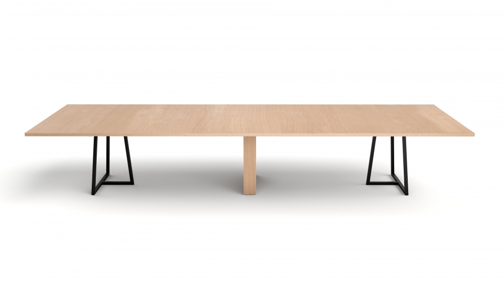 Preview of Two4Six Meeting | Meeting Table | Laminate Top | Black Powdercoat Open Frame Base and Rectangle Veneer Center Base