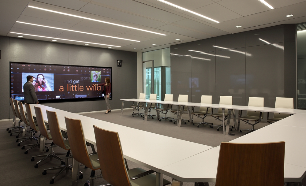 Preview of Agility | Reconfigurable Tables | White Laminate Top | Polished Chrome Legs | Fiserv | Copyright Chris Little Photography