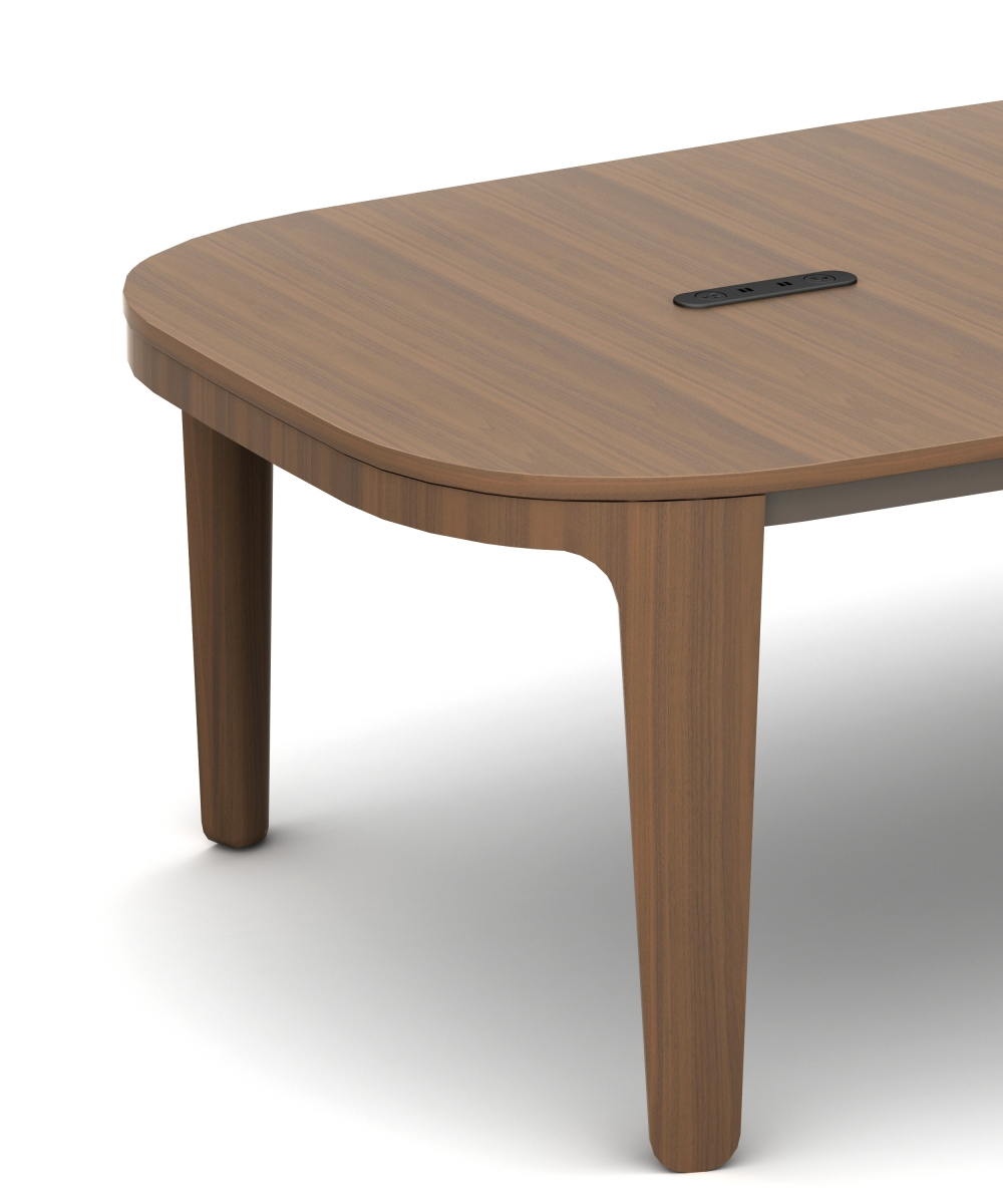 Preview of Alev Meeting   Conference Table   Otter Walnut Veneer   Aged Bronze Powdercoat   Classic Top Table   Power Cap   End Detail