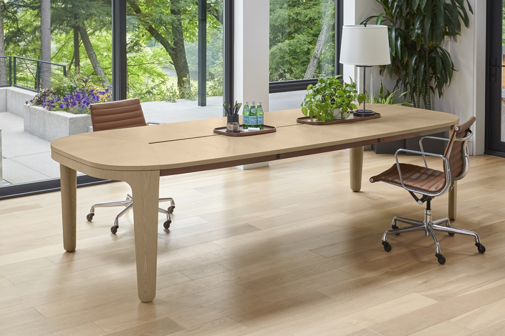 Preview of Alev Meeting | Conference Table | Segmented Top | Dune Veneer | Satin Bronze Metal Side Accent | Community Space