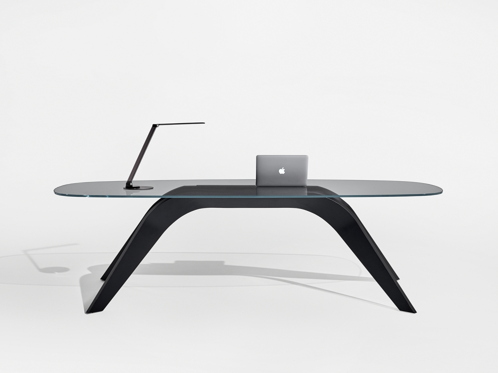 Preview of Alev V   Meeting Table   Clear Glass Top   M82 Onyx Walnut Veneer Base   Desk
