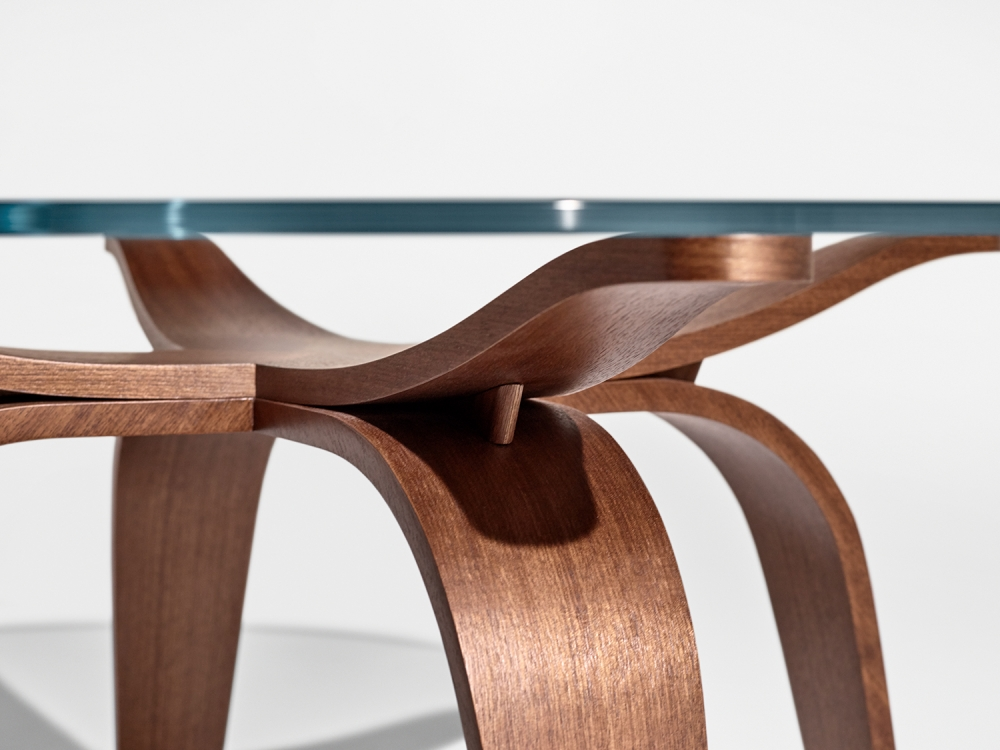 Preview of Alev X | Occasional Table | Custom Finish on Qtr. Walnut | Chat Height | Detail