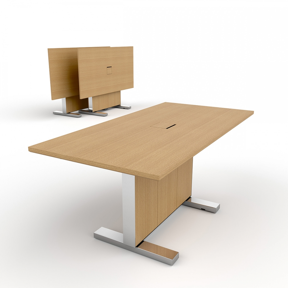 Preview of Approach | Reconfigurable Table | Rectangle Shape 66x 33| Oak Linea Veneer | Polished Chrome Metal Accents