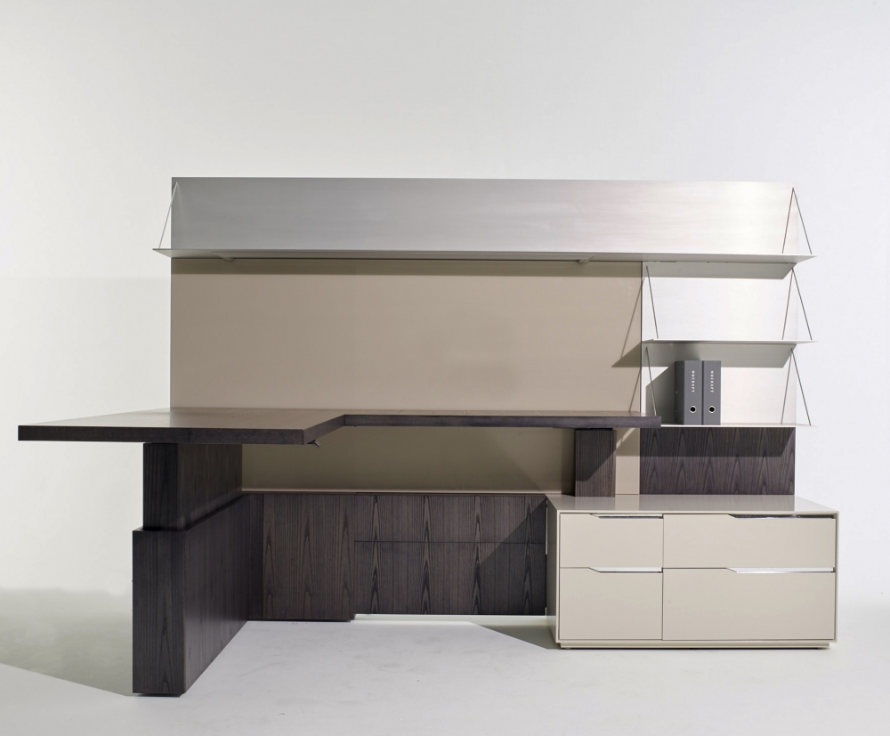 Preview of Ascari   L Shape Casegood   Char Ash Veneer   Quill Glass Back Panel   Clear Anodized Shelves   Burnished Painted Case