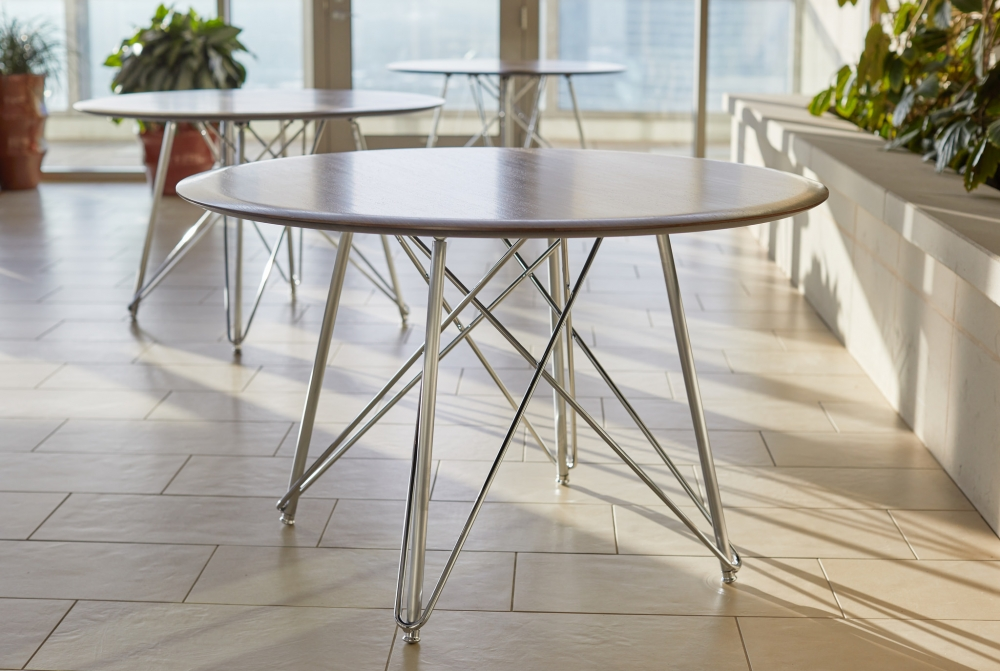 Preview of Baja | Meeting Table | Round Veneer Top | Polished Chrome Wire Frame Base