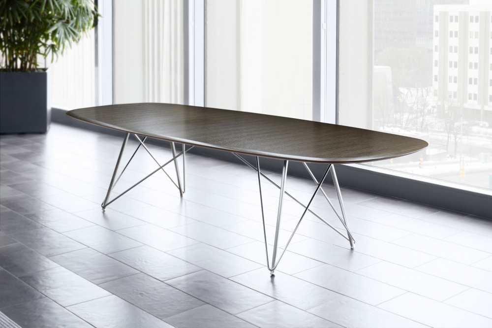 Preview of Baja | Conference Table | G71 Sable Black Limba Veneer | Soft Rectangle Top, Surf Edge | Polished Chrome Wire Frame Base