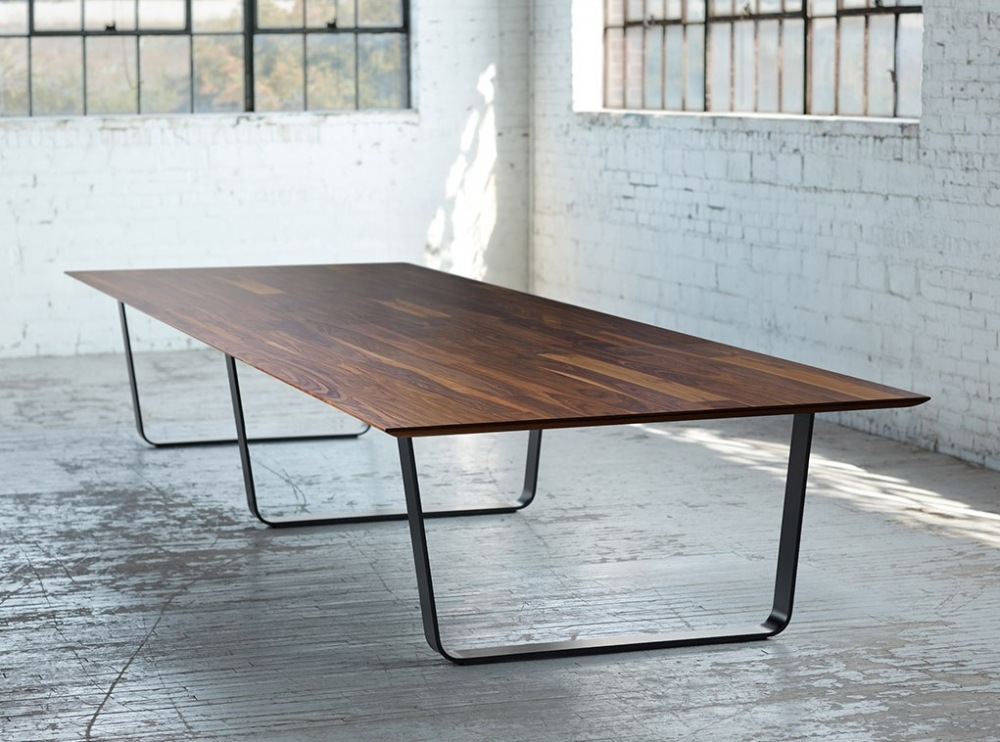 Preview of Baja | Conference Table | Planked Walnut Veneer | Hoop Base | Warehouse Shot