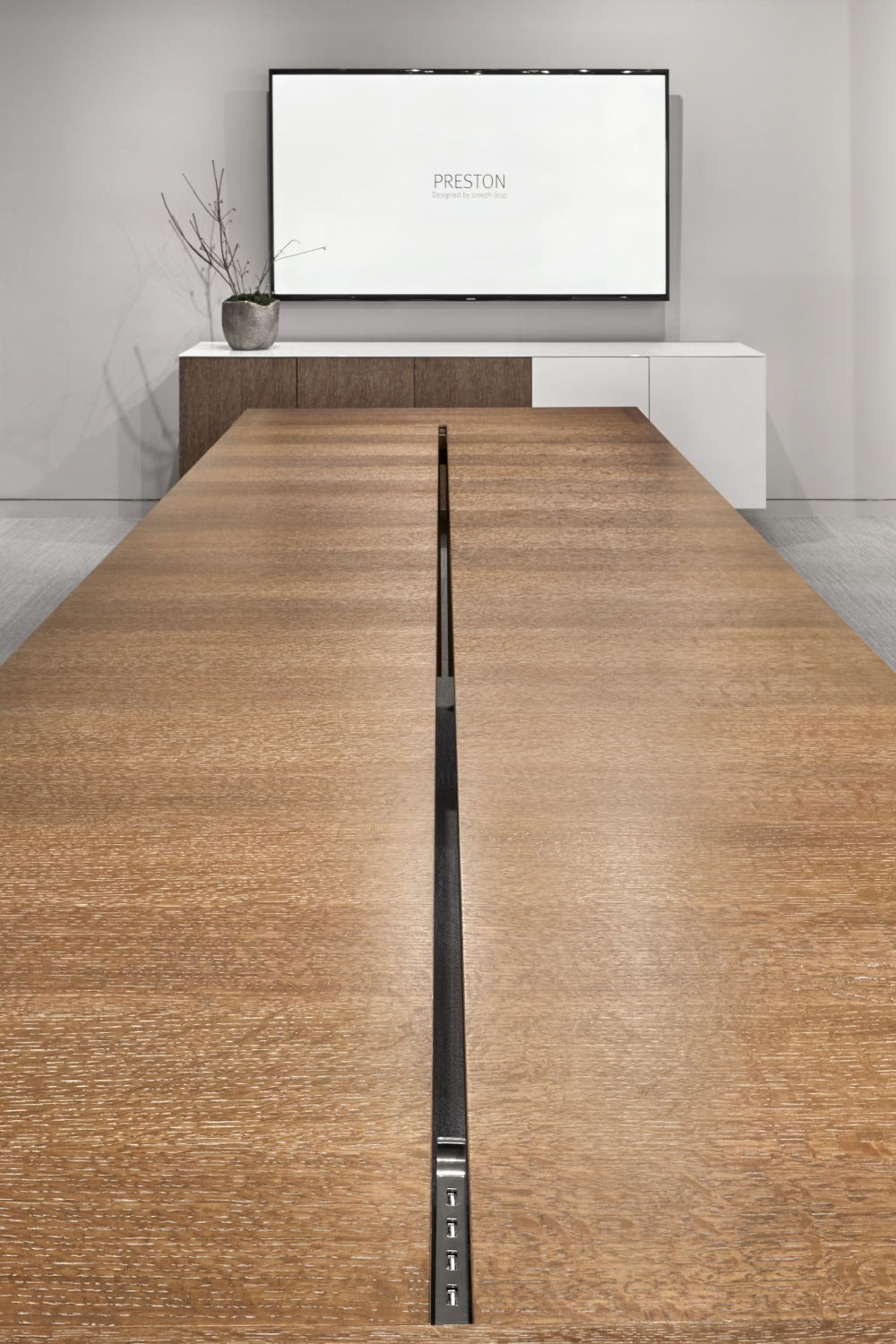 Preview of Preston | Community Table | Flaky Oak | Center Channel | Satin Bronze Plating | Chicago Showroom