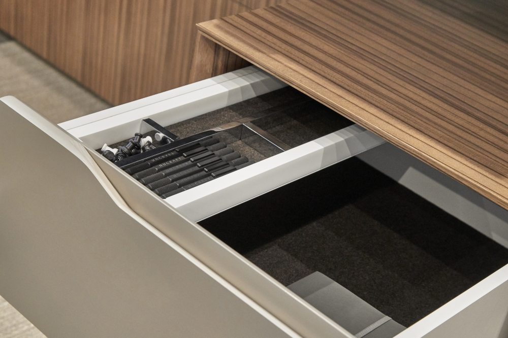 Preview of Ascari | Casegood | Canyon Paldao Veneer | Burnished Painted Door Fronts | Drawer Detail 3 | Chicago Showroom