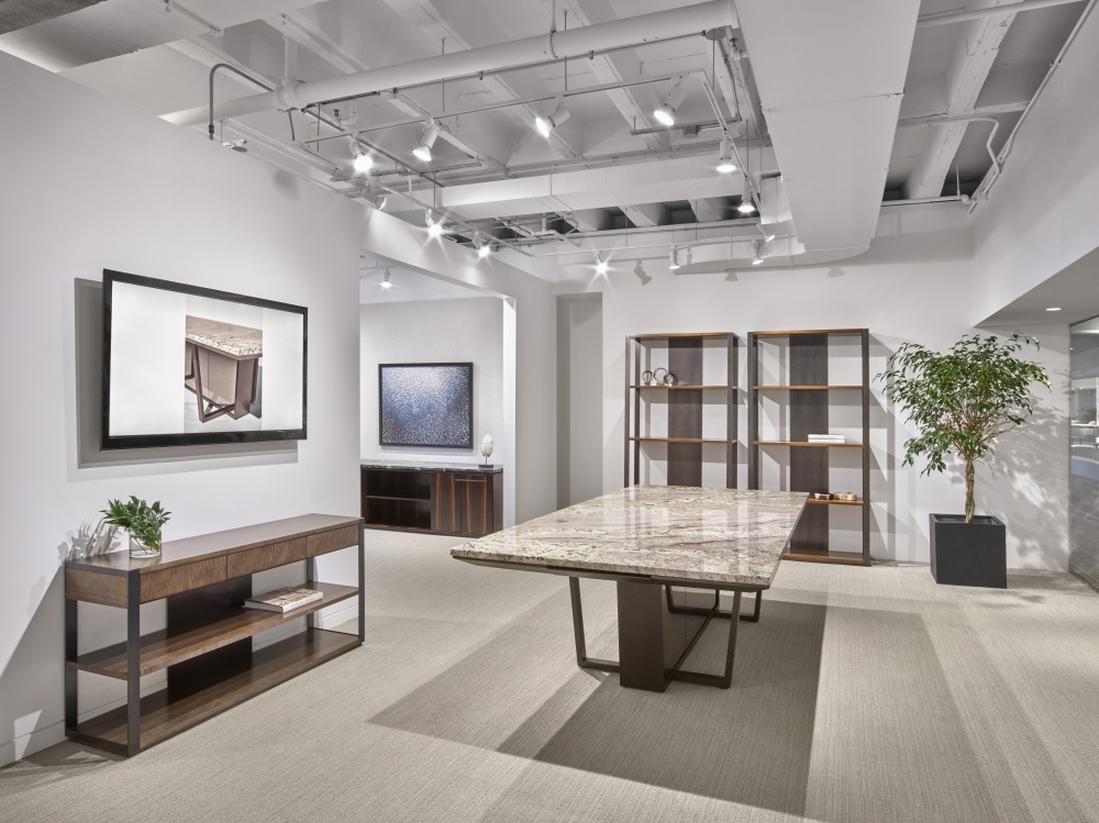 Preview of Crossbeam | Conference Table | COM Stone Top | Aged Bronze Base | Bronze Mirrored Acrylic Panels | Chicago Showroom