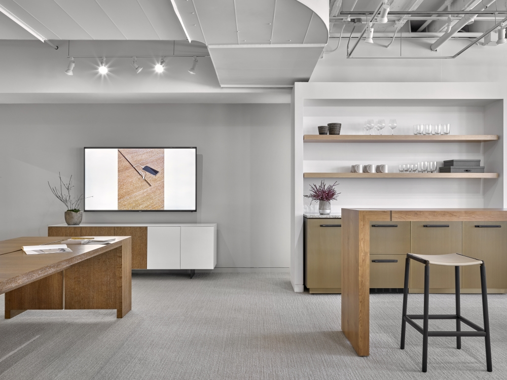 Preview of Tesano | Standing Height Table | Performance Credenza | Chicago Showroom