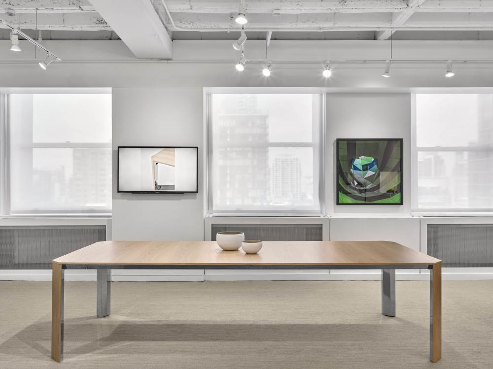 Preview of Tova | Conference Table | Dune Veneer | Polished Chrome Base | Chicago Showroom
