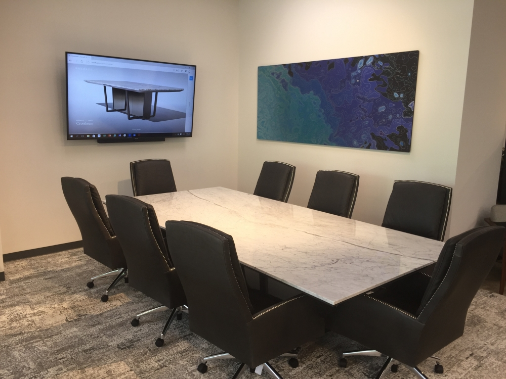 Preview of Crossbeam | Conference Table | Carrara Marble Top | Chemetal Base Panels | Texas Showroom