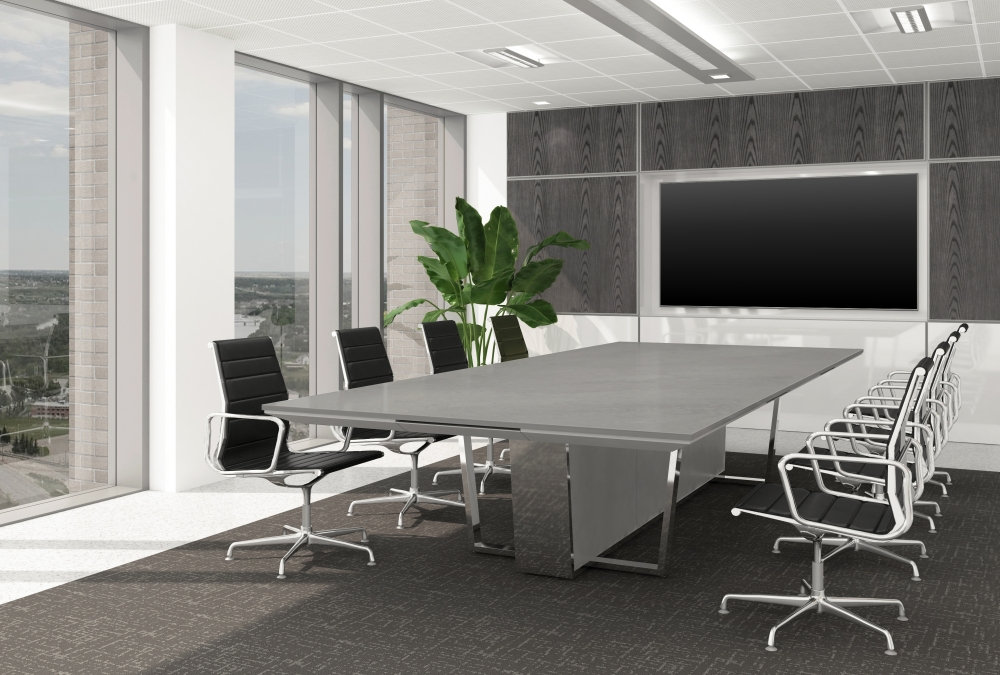 Preview of Crossbeam | Conference Table | Ceasarstone Airy Concrete 404 Top | 927 Light Stainless Aluminum Base Panels | PC Polished Chrome Base | 144 x 60