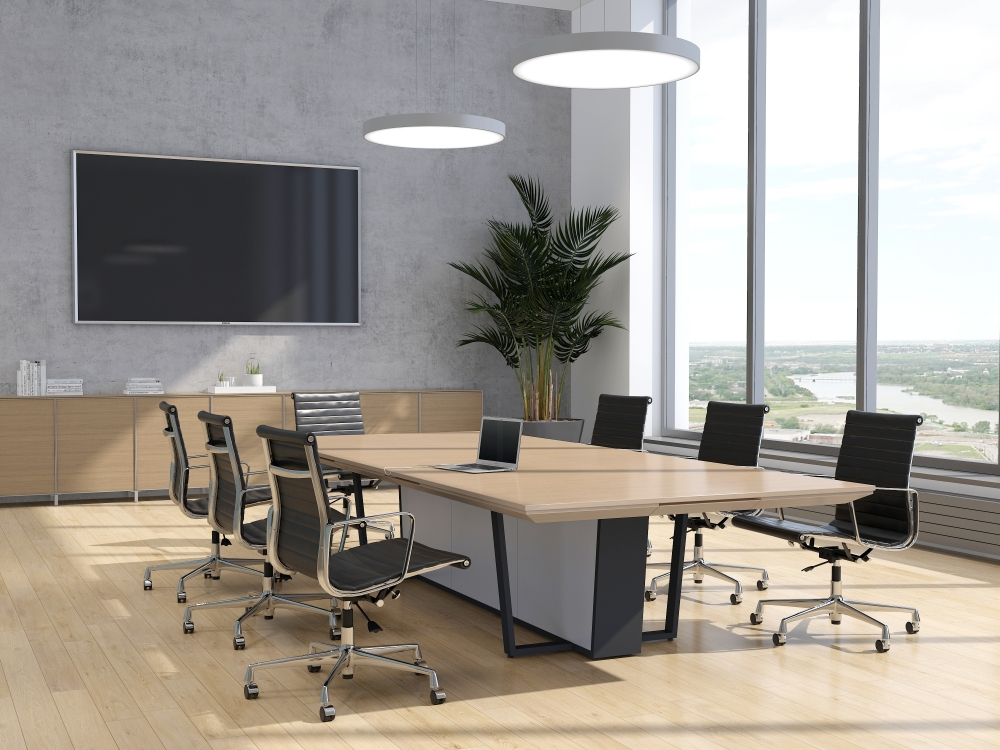 Preview of Crossbeam | Conference Table | 5883-58 Pecan Woodline Laminate Top | 927 Light Stainless Aluminum Base Panels | A8012 Storm Base | 144 x 60