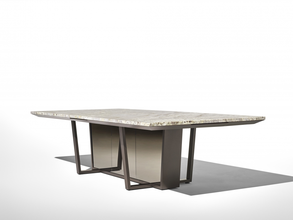 Preview of Crossbeam | Conference Table | COM Stone | Aged Bronze Base | Bronze Mirrored Acrylic | Angled View