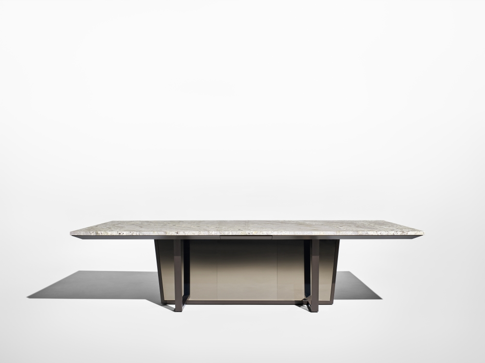 Preview of Crossbeam | Conference Table | COM Stone | Aged Bronze Base | Bronze Mirrored Acrylic | Side View
