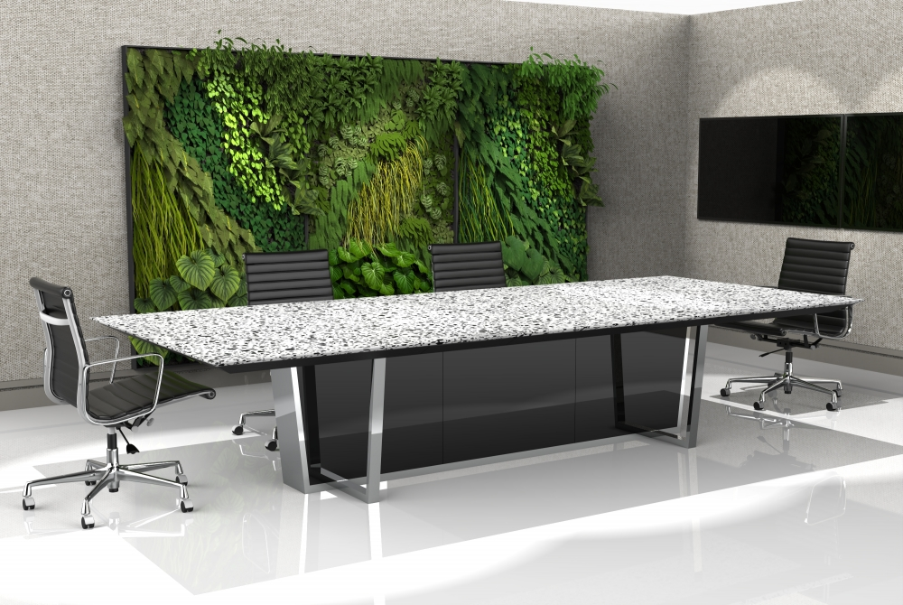 Preview of Crossbeam | Conference Table | COM Stone Top | Polished Chrome Base | Mirror Acrylic Base Panels | Living Wall