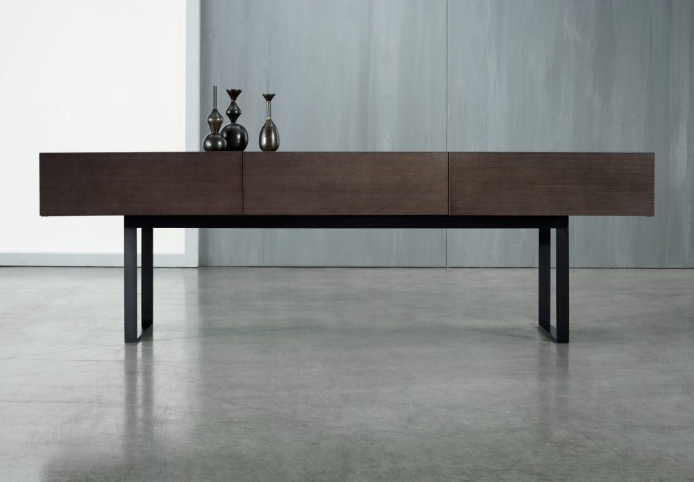 Preview of Emme | 3 Drawer Console | Custom Veneer | Blackened Nickel Legs