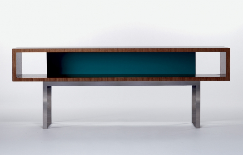 Preview of Emme | Open Console | S87 Peacock Paint | G37 Castano Walnut Veneer | Brushed Stainless Metal