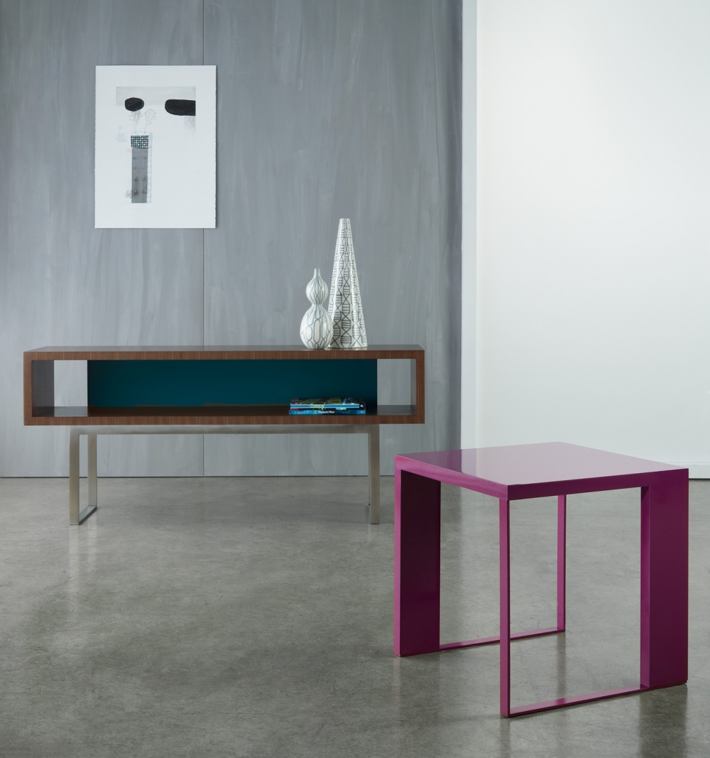 Preview of Emme | Open Console and Occasional Table | Punch and Peacock Paint | G37 Castano Walnut Veneer | Brushed Stainless Metal