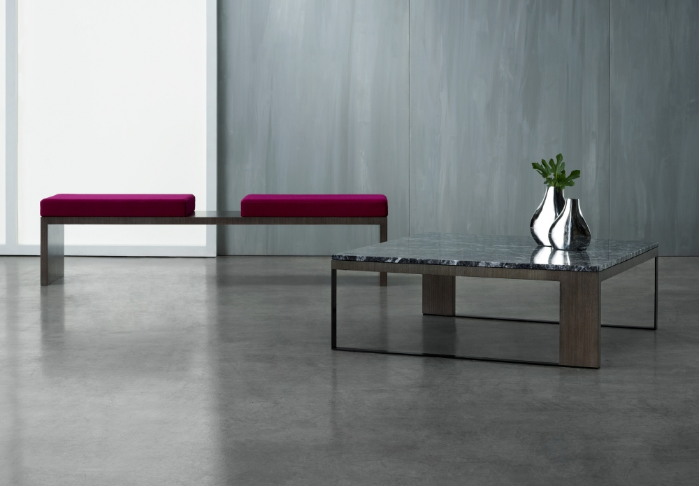 Preview of Emme | Bench and Square Coffee Table | Custom Veneer | Custom Stone