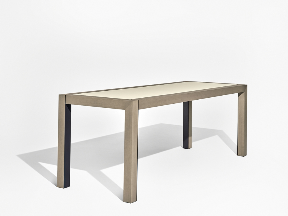 Preview of Epono | Community Table | Silver Birch Linea | Linoleum Top | Storm Powdercoat Metal Accents | Standing Height | Angled View