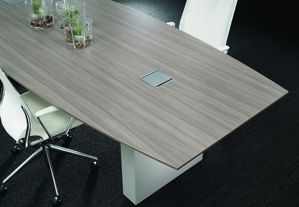 Preview of Flow   Conference Table   Boat Shape Weathered Ash Laminate Top   Cloud Paint Rectangle Base   Chicago Showroom