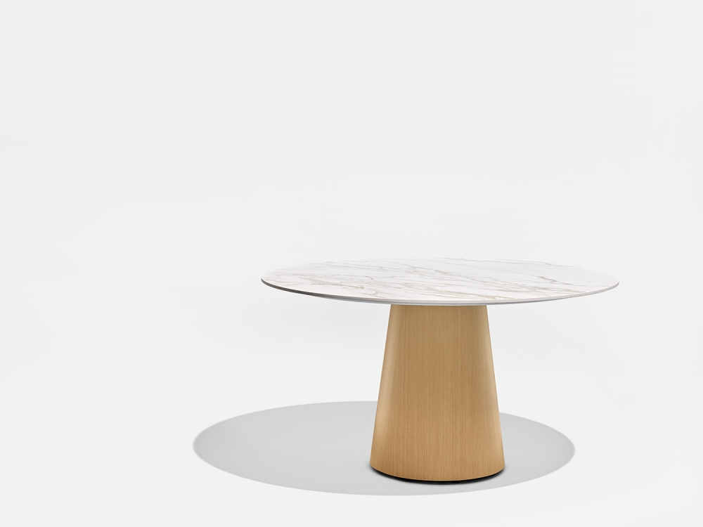 Preview of Flow | Meeting Table | Round Stone Top | Euro Birch Linea Cone Base