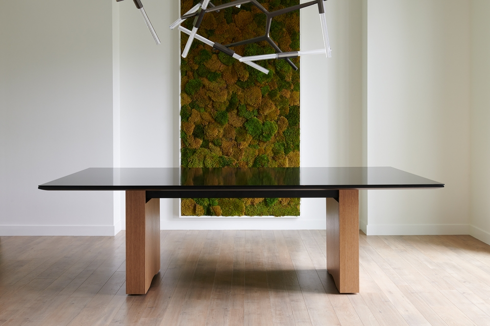 Preview of Flow | Conference Table | Black Glass Top | Oak Linea Rectangle Base