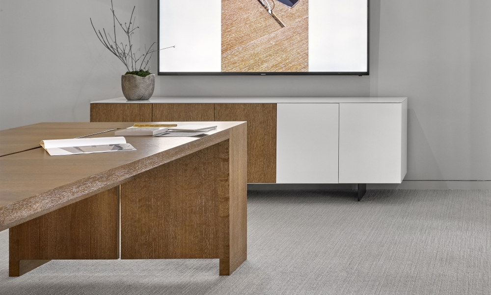 Preview of Flow Credenza | Painted and Veneer Doors | Cloud Paint and Flaky Oak Veneer