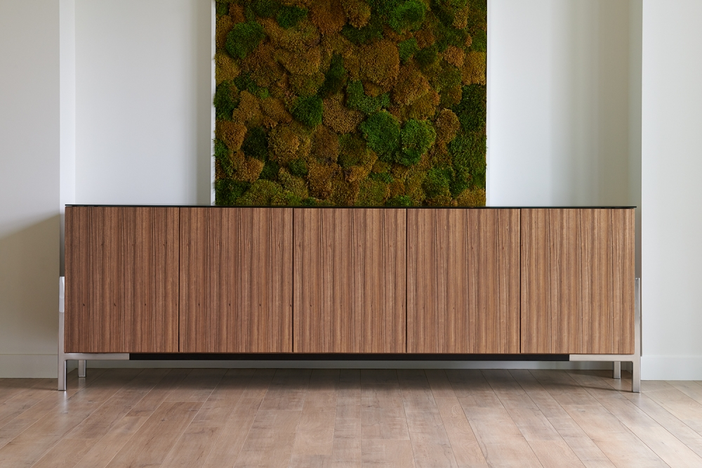 Preview of Flow Credenza | Canyon Paldao Veneer | Black Satin Glass Top | Polished Chrome Cradle Base