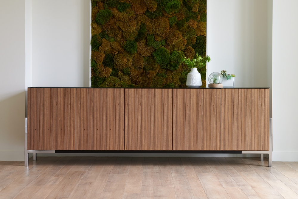 Preview of Flow Credenza | Canyon Paldao Veneer | Black Satin Glass Top | Polished Chrome Cradle Base | Accessories