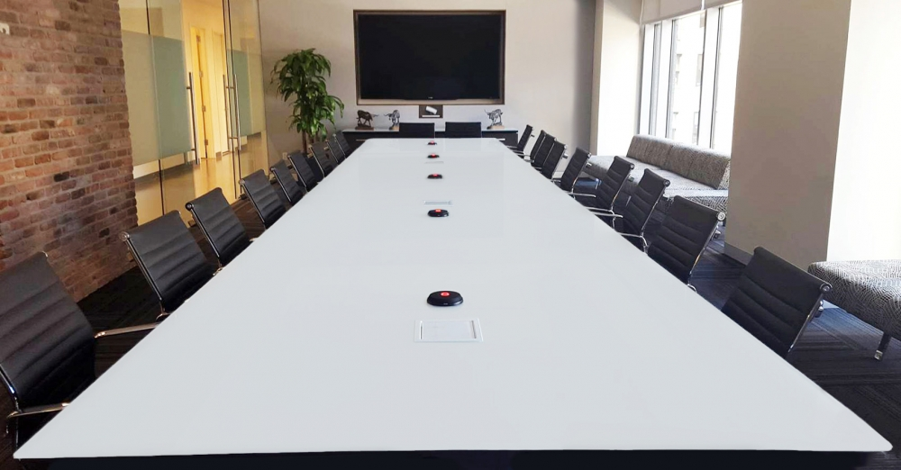 Preview of Flow | Conference Table | White Glass Top | Brixmor