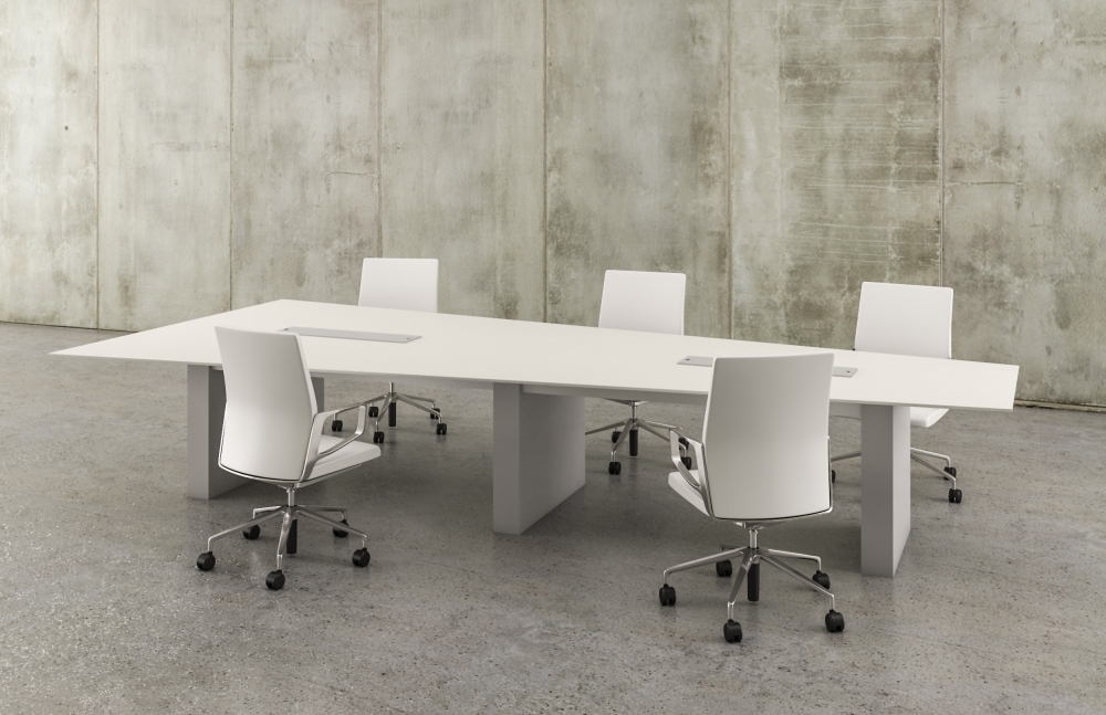 Preview of Flow | Conference Table | White Laminate Sightline Top | Cloud Paint Rectangle Base