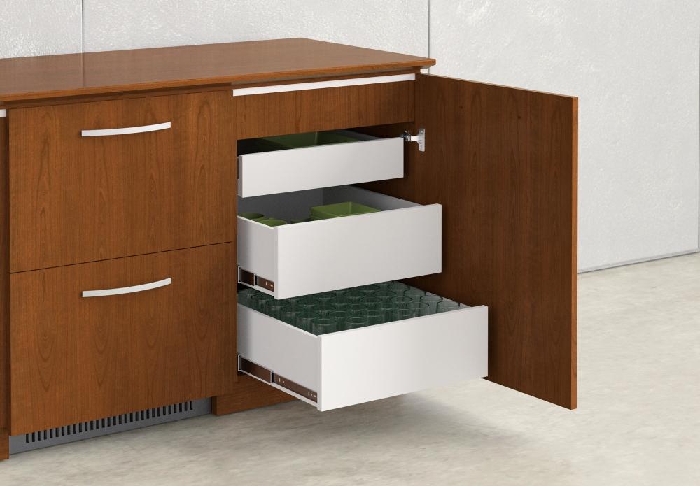Preview of Performance Credenza | Veneer | Food Service | Open Drawers