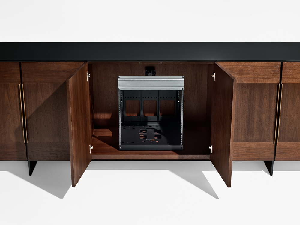 Preview of Forena | Buffet Height Credenza | M33 Mocha Walnut Veneer | Black Satin Etched Glass Top | Equipment Racking