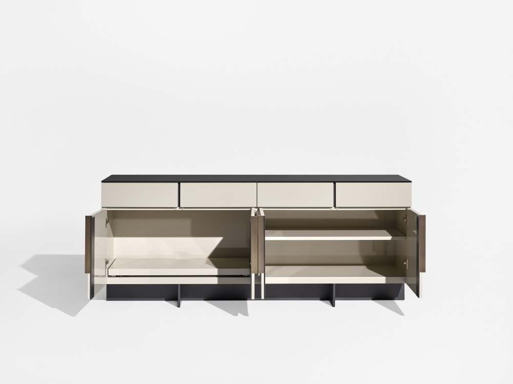 Preview of Forena   Conference Height Credenza   Black Satin Etched Glass Top   Moonlight Lacquered Polyester Case   Storage