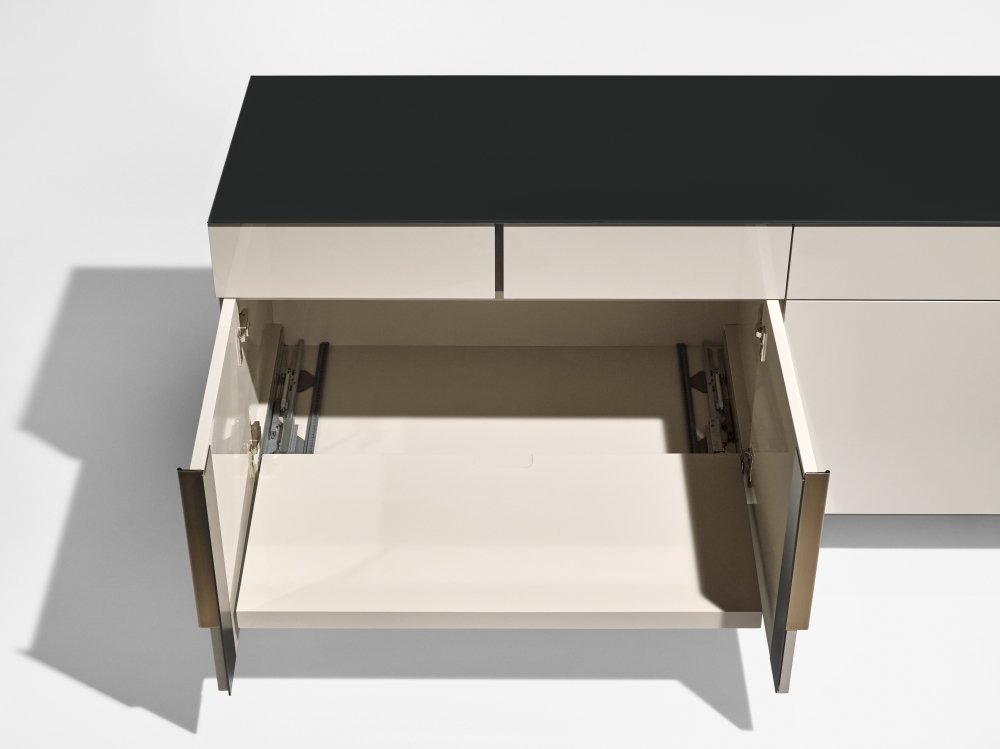 Preview of Forena   Conference Height Credenza   Black Satin Etched Glass Top   Moonlight Lacquered Polyester Case   Drawer Detail