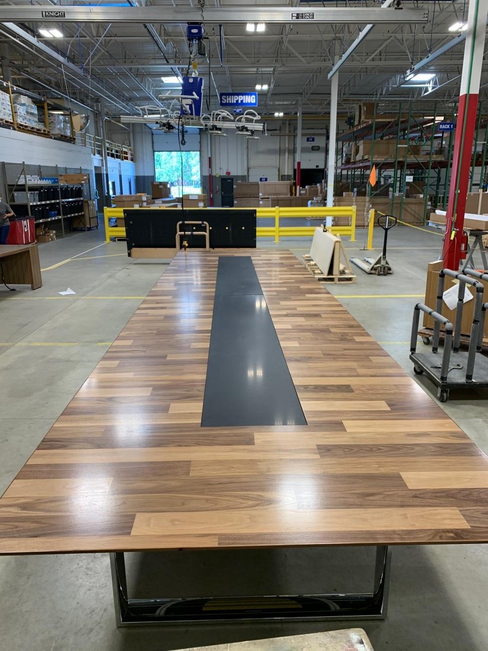 Preview of Custom | Flow | Planked Veneer Table | Hoop Base | Inset Stone