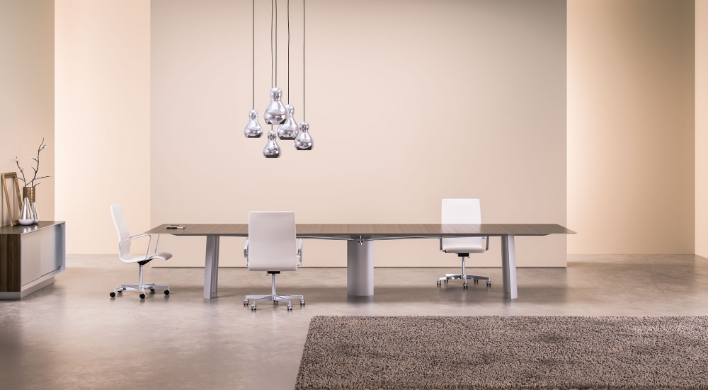 Preview of Kai | Conference Table | Rectangle Veneer Top | Clear Anodized Metal Legs with Rectangle Base