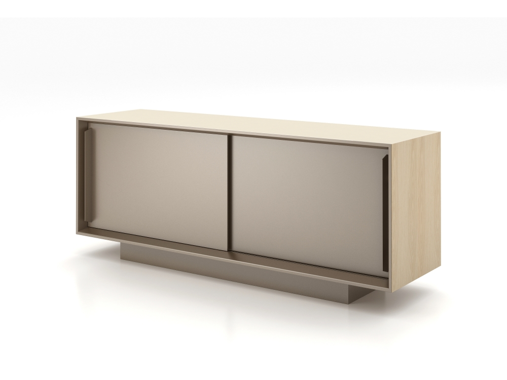Preview of Kai Credenza | Quill Glass Top | Dune Veneer | Satin Bronze Powdercoat | 72 x 20 x 29-1/2