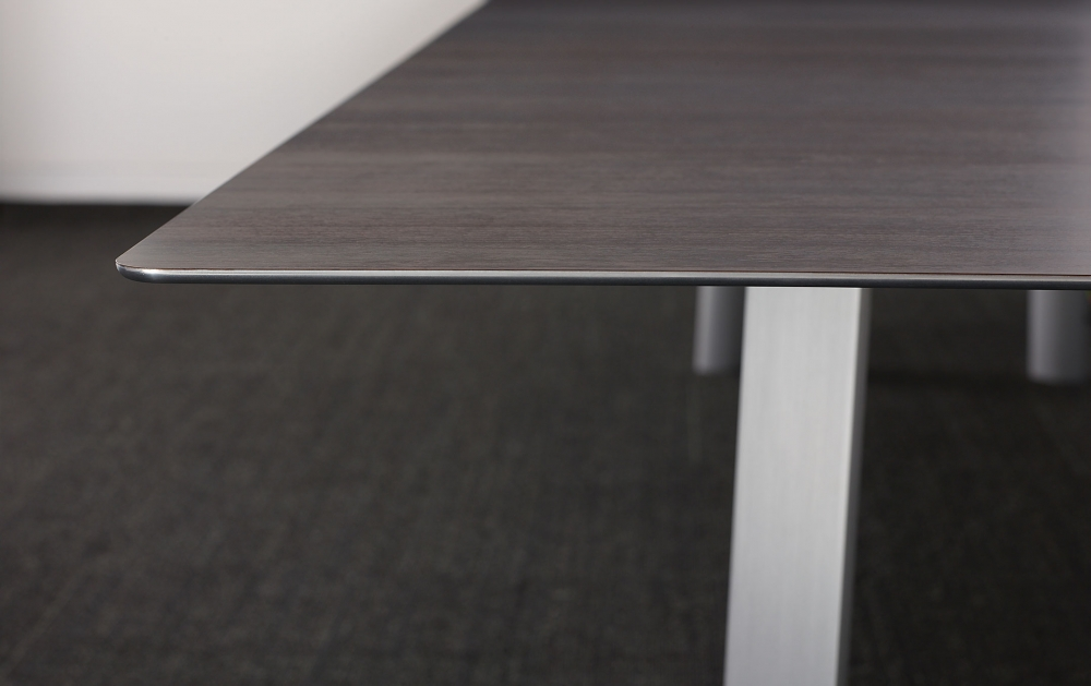 Preview of Kai | Conference Table | G30 Zinc Walnut Veneer Rectangle Top | Edge Detail