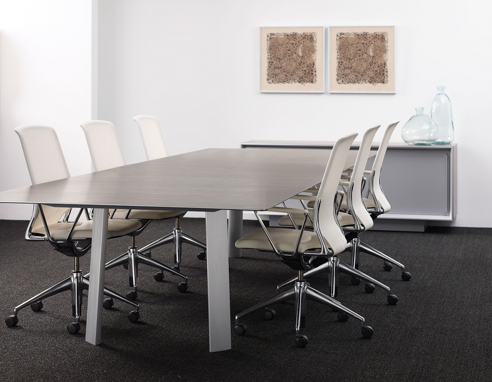 Preview of Kai | Conference Table | G31 Otter Walnut Veneer Rectangle Top | Clear Anodized Metal Legs | With White Chairs