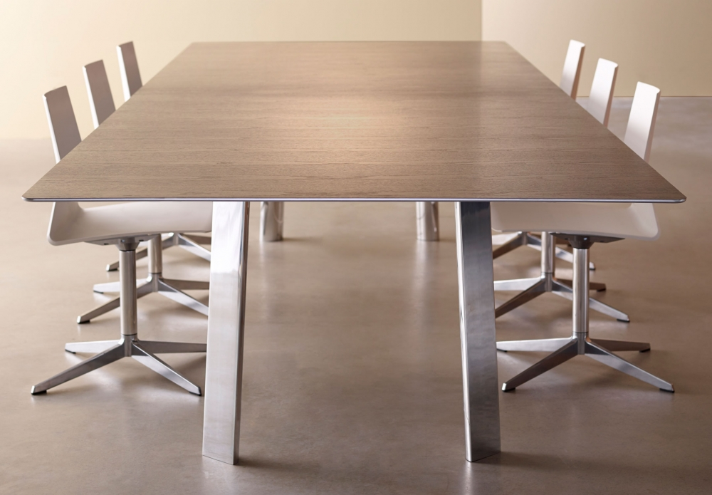 Preview of Kai | Conference Table | Veneer Top | Polished Chrome Metal Legs