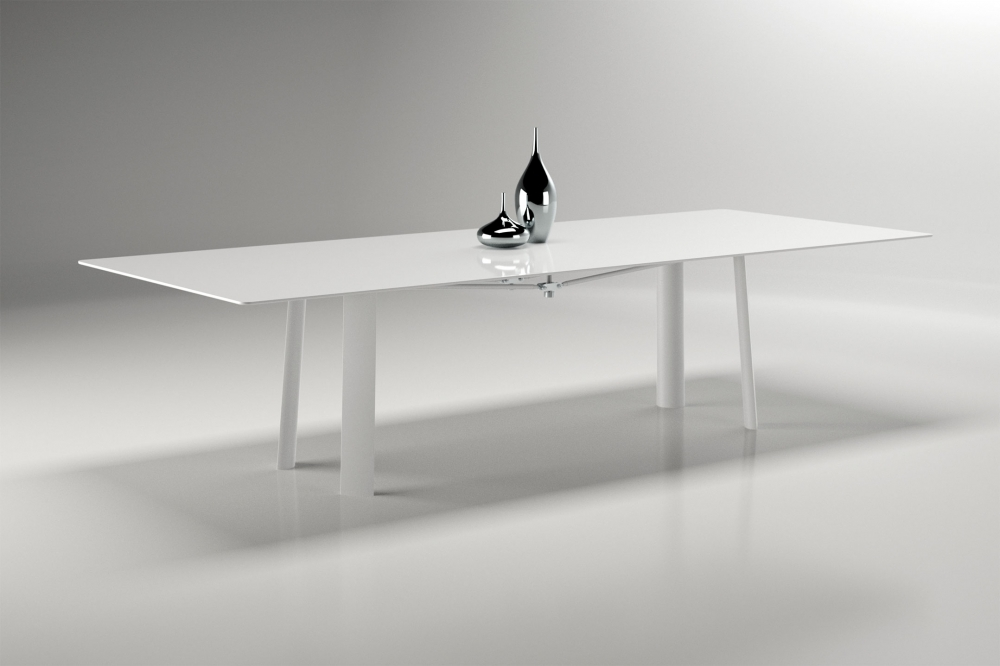 Preview of Kai | Conference Table | WG White Glass Top | Cloud Powdercoat Metal Legs