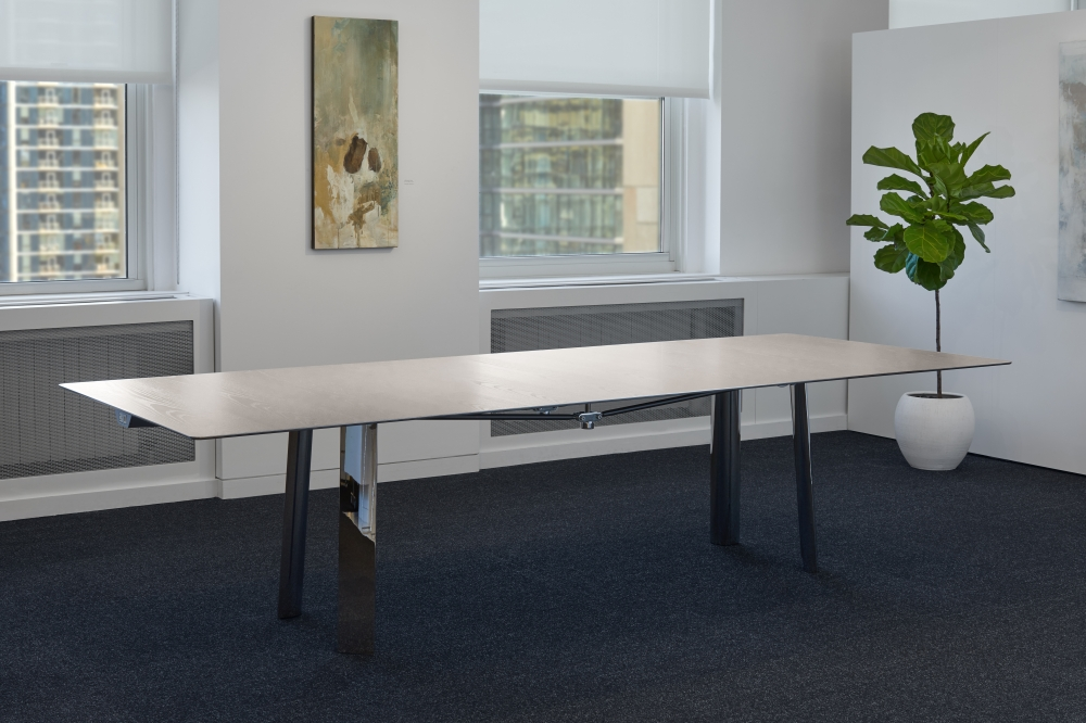 Preview of Kai | Conference Table | Rectangle Veneer Top | Polished Chrome Metal Legs
