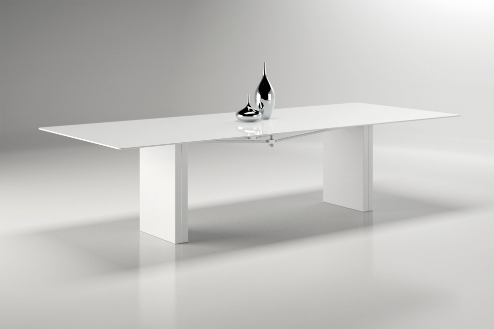 Preview of Kai | Conference Table | WG White Glass Top | Cloud Powdercoat Rectangle Base